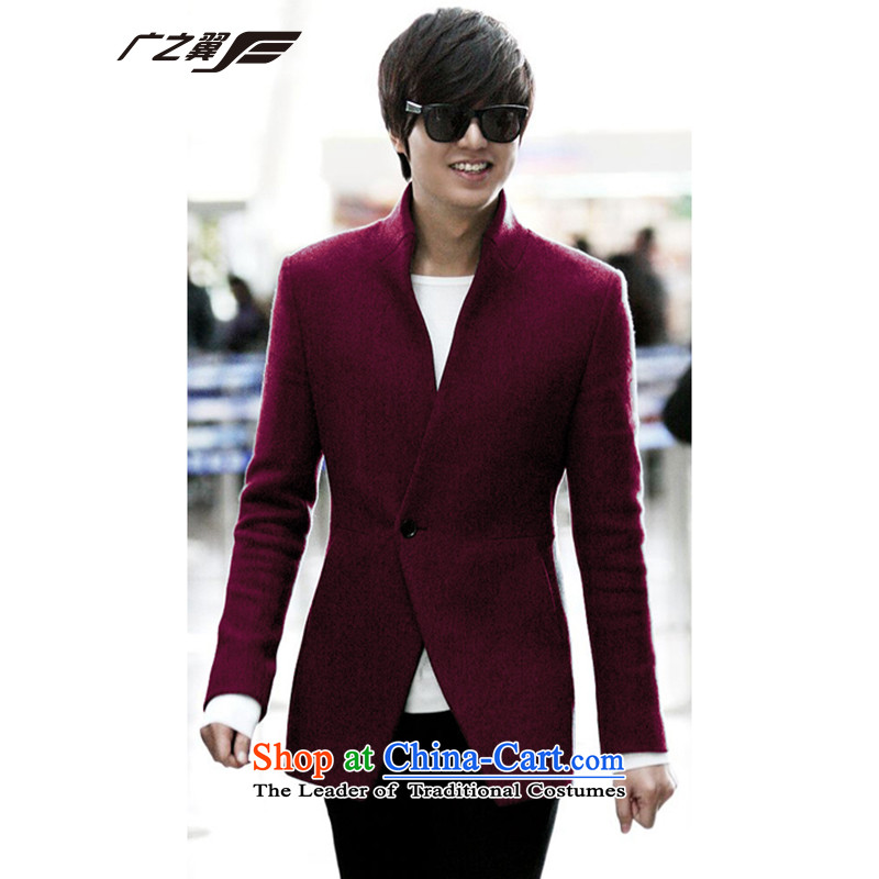 Wide Wing Men's Mock-Neck Stylish coat Korean gross?   in long men who accompanied the bridegroom Chinese tunic suit small燲XXL wine red