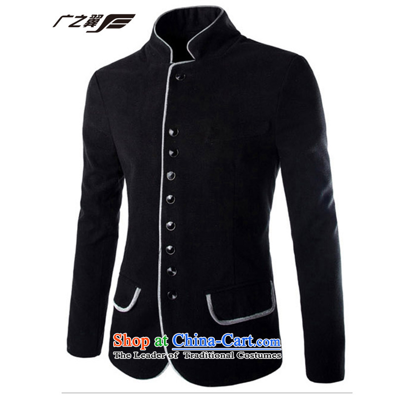 Wide Wing men is smart casual, Chinese tunic men thick hair? collar Coat small black suit?M
