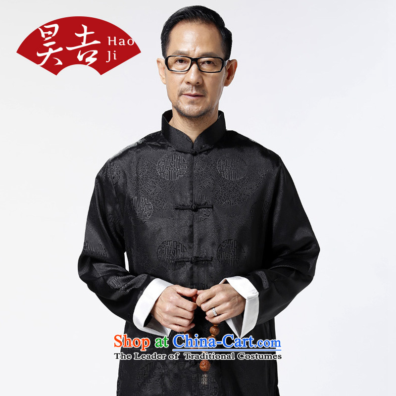 Ho Chi elderly men aged clothes autumn boxed long-sleeved trousers Tang Dynasty Package older persons life will black XXL/185