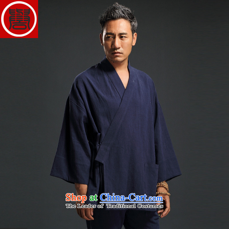 Renowned Chinese Wind linen men retro Han-to fulfill his breast cardigan leisure Tang dynasty men t-shirt tea service blue聽XL
