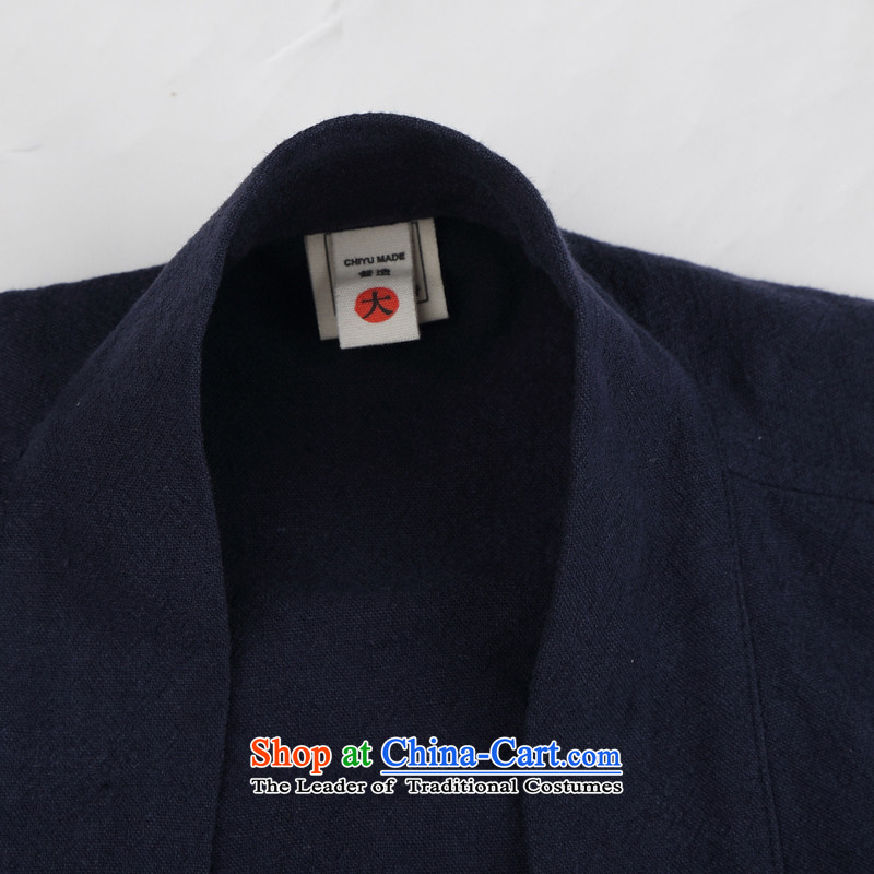 Renowned Chinese Wind linen men retro Han-to fulfill his breast cardigan leisure Tang dynasty men t-shirt tea service blue XL, renowned (CHIYU) , , , shopping on the Internet