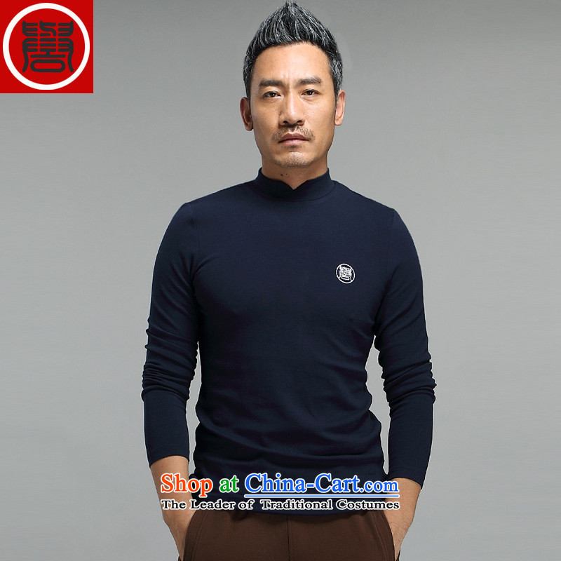 Renowned Tang dynasty autumn and winter male high collar long-sleeved men Chinese tunic long-sleeved T-shirt, forming the Leisure China wind men loose cotton T-shirt modal national wind dark blue L