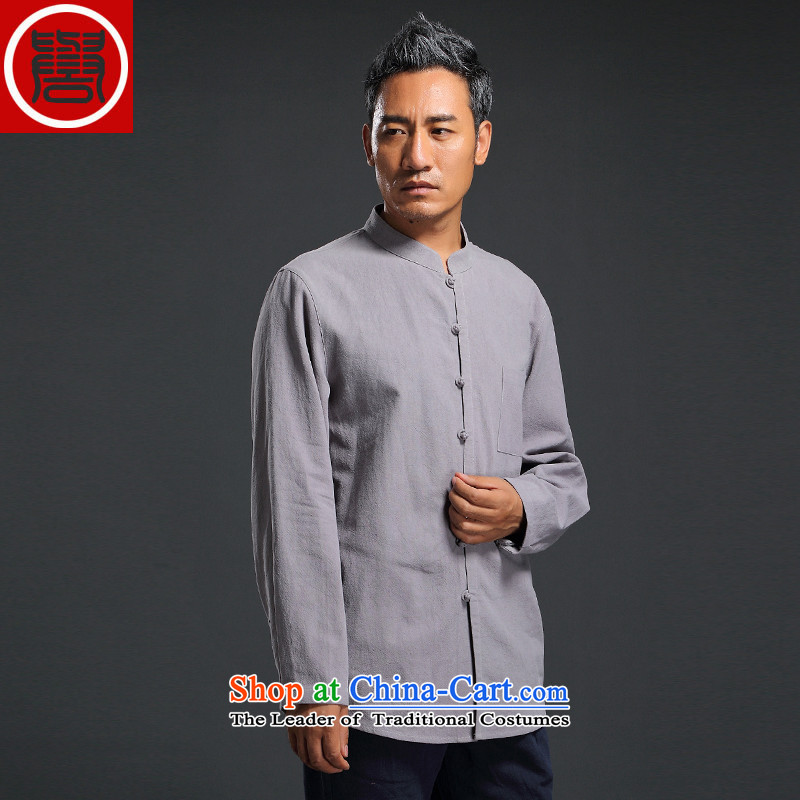 Renowned Tang dynasty male Han-linen shirt men Tang dynasty loose solid color shirt autumn China wind men linen long-sleeved shirt light gray燲L