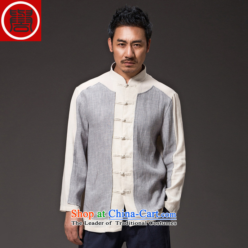 Renowned Tang dynasty China wind male Han-men linen shirt cheongsams long-sleeved Sau San Chinese Men's Shirt clip and disk spring and autumn shirt聽XXXL Gray