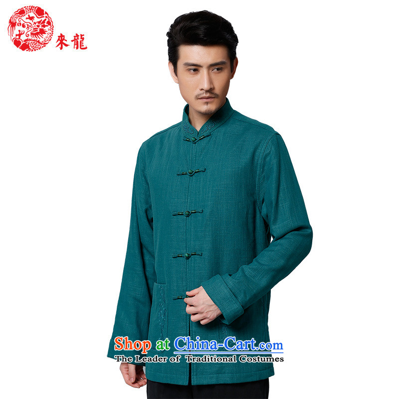 To Tang Dynasty Dragon聽2015 autumn and winter New China wind men cotton linen coat聽15596聽Blue Blue聽46