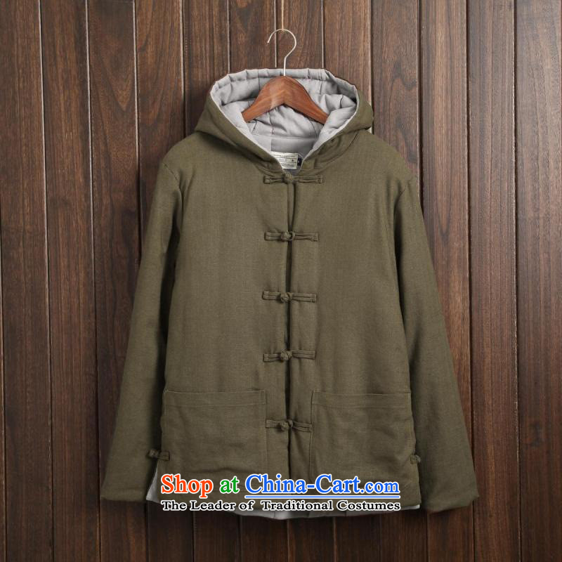 Dan Jie Shi?2015 Autumn New China wind retro long-sleeved shirt with men linen stylish Solid Color Mock-Neck Shirt cotton linen Sau San Tong replacing men pickled thin green?M