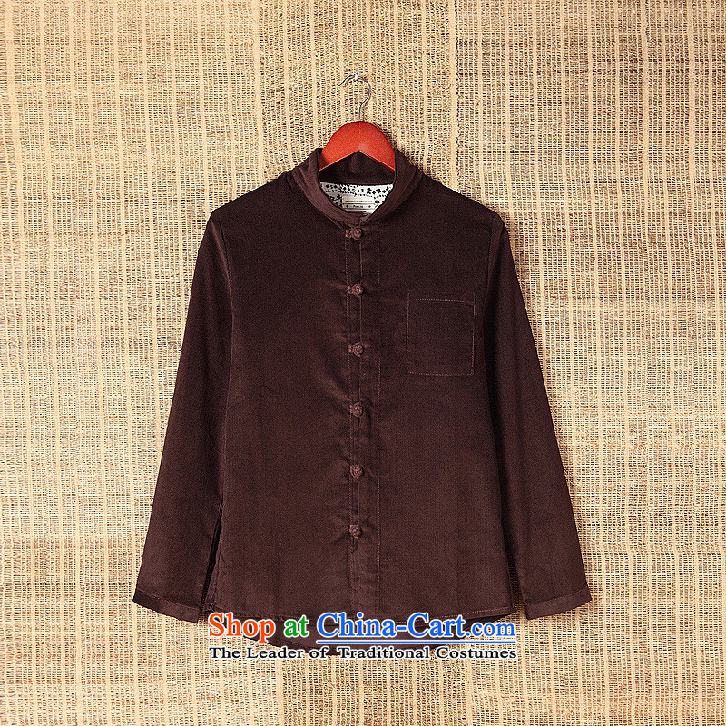 Dan Jie Shi�15 original art nouveau flowers snap up Chinese corduroy long-sleeved shirt cotton China wind men Brown燤