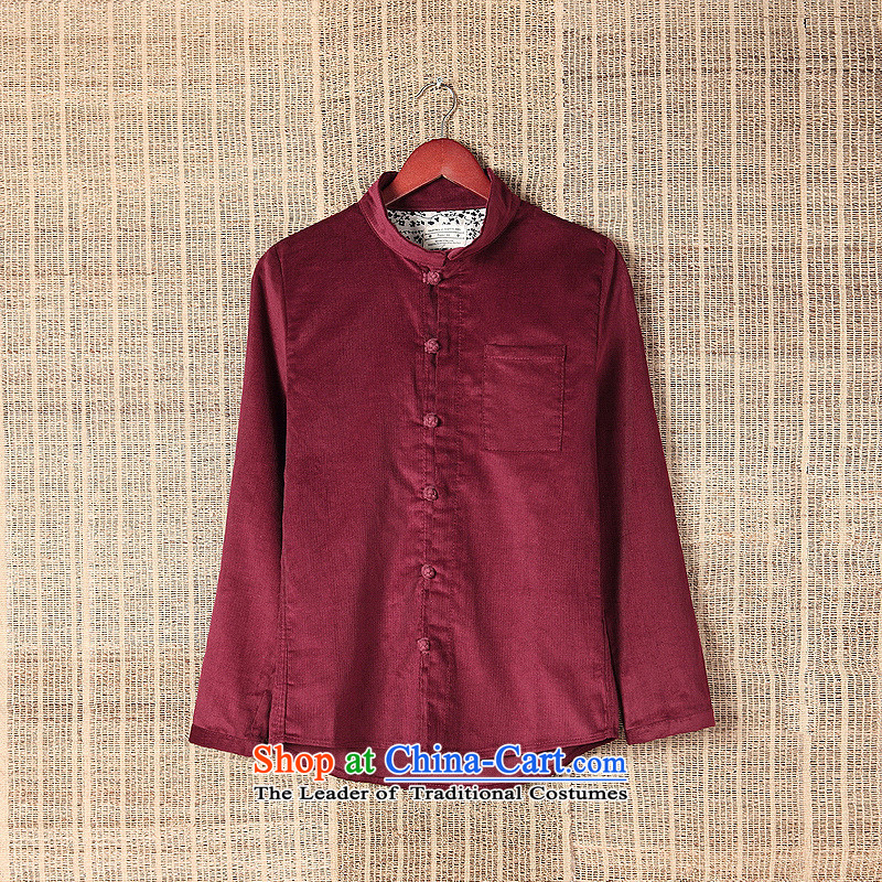 Dan Jie Shi聽2015 original art nouveau flowers snap up Chinese corduroy long-sleeved shirt cotton China wind men Brown聽M Dan Jie Shi (DANJIESHI) , , , shopping on the Internet