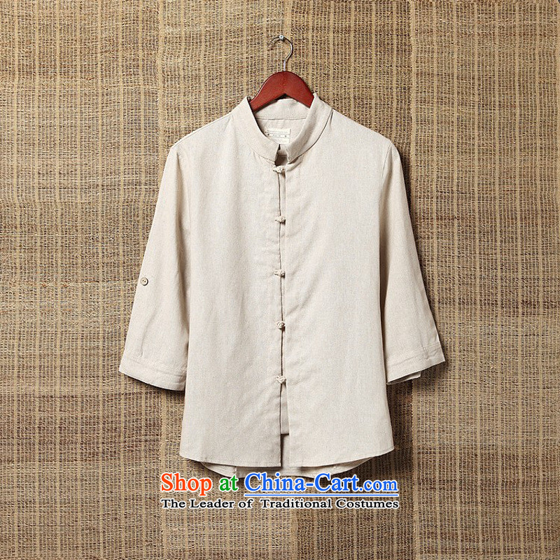 Dan Jie Shi?2015 China wind up in the summer and autumn detained Men's Shirt cotton linen flax seven Chinese Antique sleeveless shirt linen tunic men fruit green?M