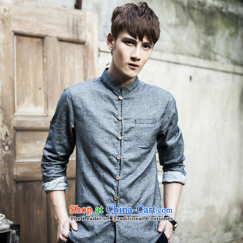 Dan Jie Shi�2015 Autumn New China wind retro long-sleeved shirt with men linen stylish Solid Color Mock-Neck Shirt cotton linen Sau San Tong replacing men and low carbon�170/88