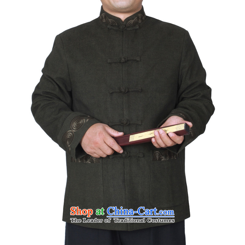 The Cave of the elderly 15 autumn and winter new upscale Chinese men's jackets solid color embroidery in older men Tang dynasty Y766 Emerald?170