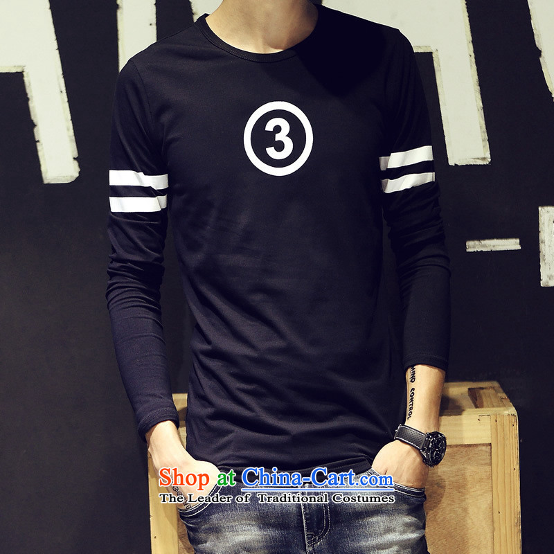 The Black Butterfly 2015 Autumn new trend of Korean men     Leisure long-sleeved T-shirt for larger numbers of men in black T stamp?M