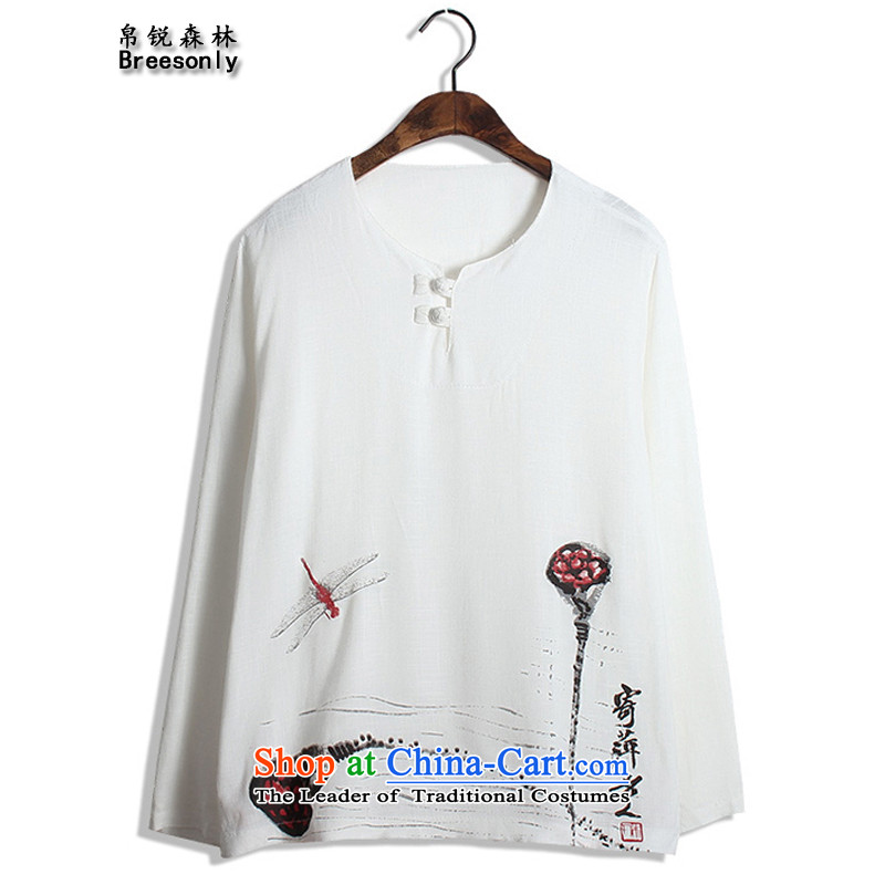 8Vpro Forest _breesonly_ Tang Dynasty Chinese tunic in summer and autumn, long-sleeved T-shirt stamp cotton linen ethnic large lounge T-shirt燤Y02爓hite lotus燤