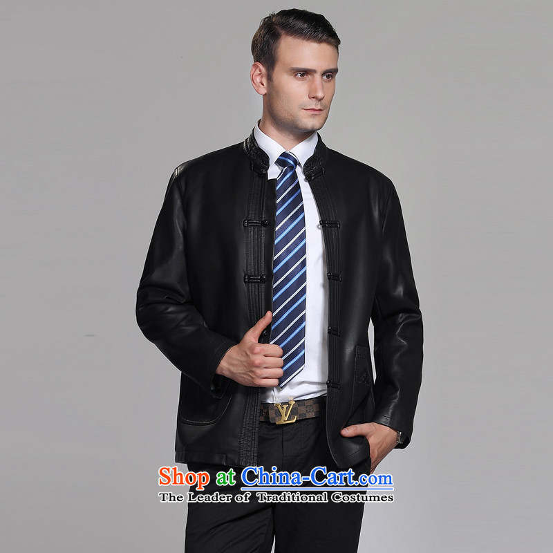 The snowflake splendid autumn and winter, middle-aged men new leather garments Tang dynasty men casual leather jacket Tang jackets F1566 Black?170