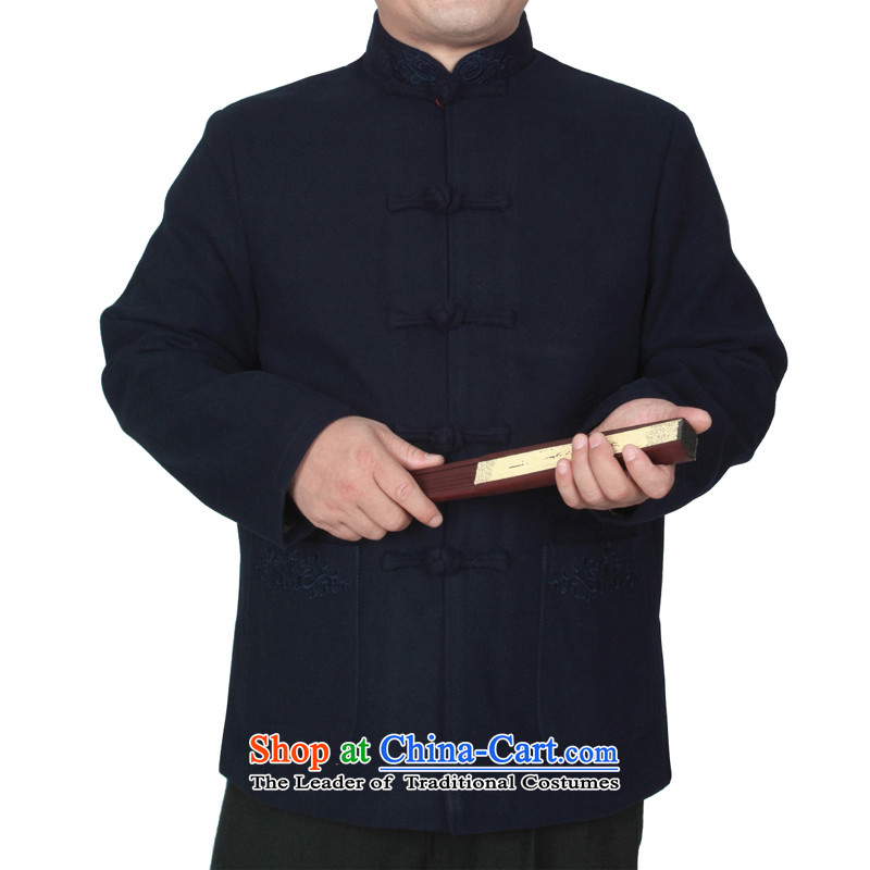 The Cave of the elderly 15 autumn and winter new upscale embroidery Chinese men in older thick hair? Tang jackets Y769 Blue�0 yards