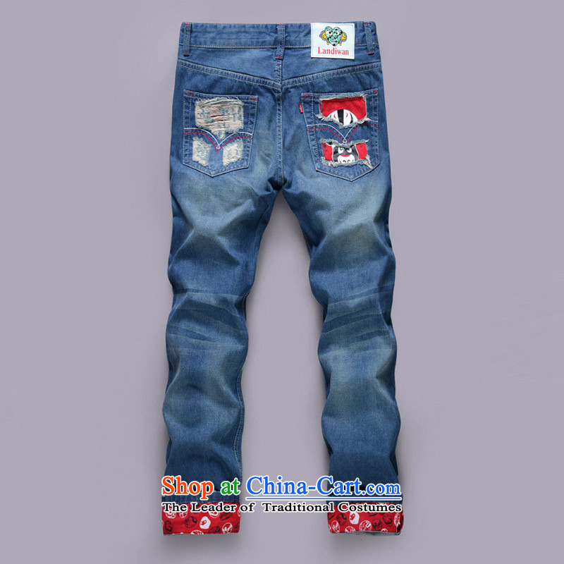 Dan Jie Shi�15 new stamp jeans and cowboy trousers embroidery beggar trousers Korean leisure trend of Sau San Harlan jeans�1 28