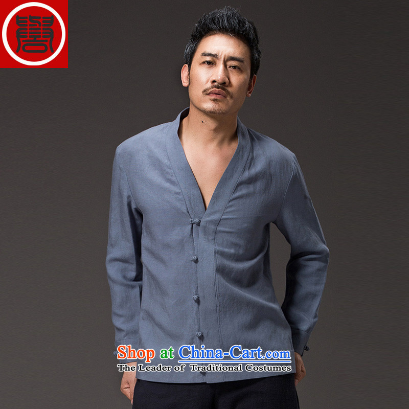 Renowned China wind men ball-Tang dynasty spring service men and long-sleeved Tencel Ma Han-meditation services jacket Chinese light blue聽XL