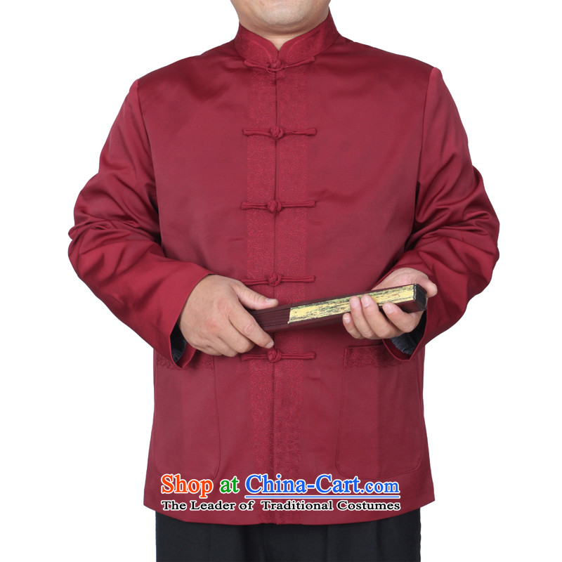 The Cave of the elderly 15 autumn and winter New Red Tang dynasty in embroidery older married upscale banqueting Tang jackets Y768 red聽190 yards