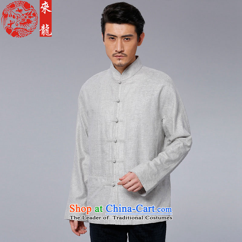 To Tang Dynasty Dragon 2015 autumn and winter New China wind men Flex-cotton Long-sleeve 15598 Light Gray Light Gray 50