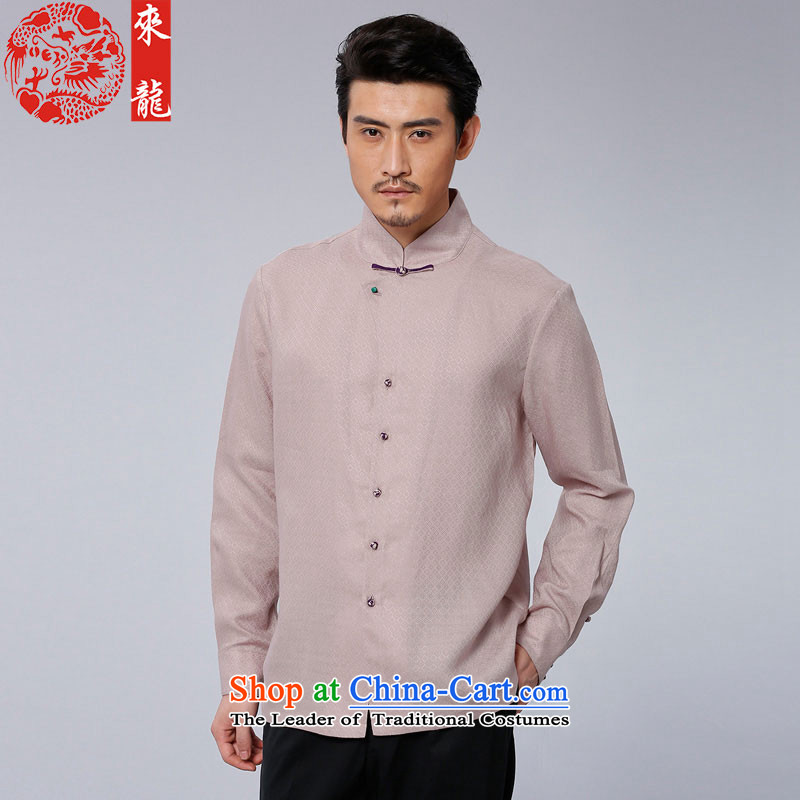 To Tang Dynasty Dragon�15 autumn and winter New China wind men of ramie jacquard leisure long-sleeved shirt�611-1爈ight pink salmon pink�