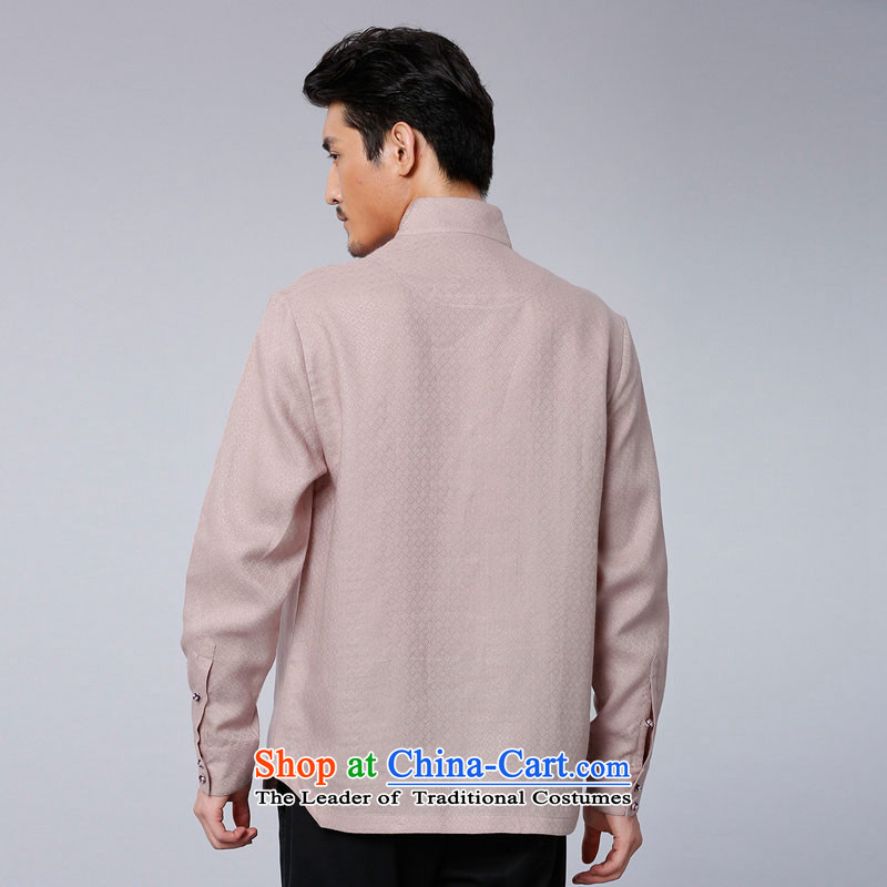 To Tang Dynasty Dragon聽2015 autumn and winter New China wind men of ramie jacquard leisure long-sleeved shirt聽15611-1聽light pink salmon pink聽50 to lung , , , shopping on the Internet