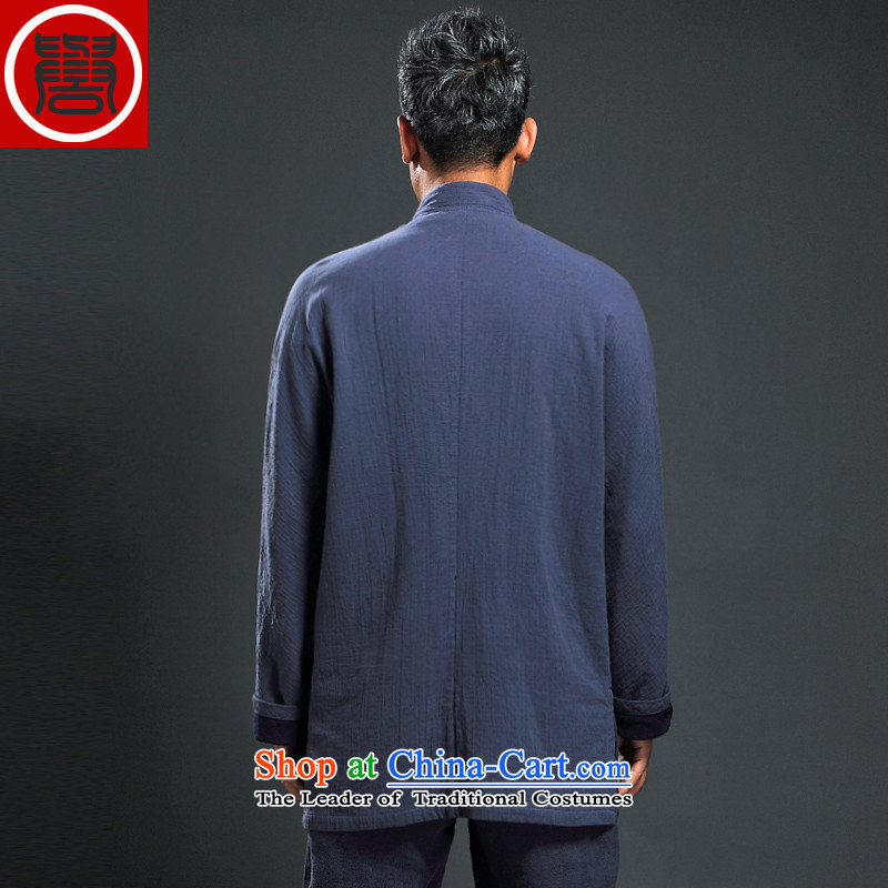 Renowned Tang dynasty men fall 2015 new ethnic Han-men Chinese long-sleeved improved China wind ball-dark blue XL, renowned service (CHIYU) , , , shopping on the Internet