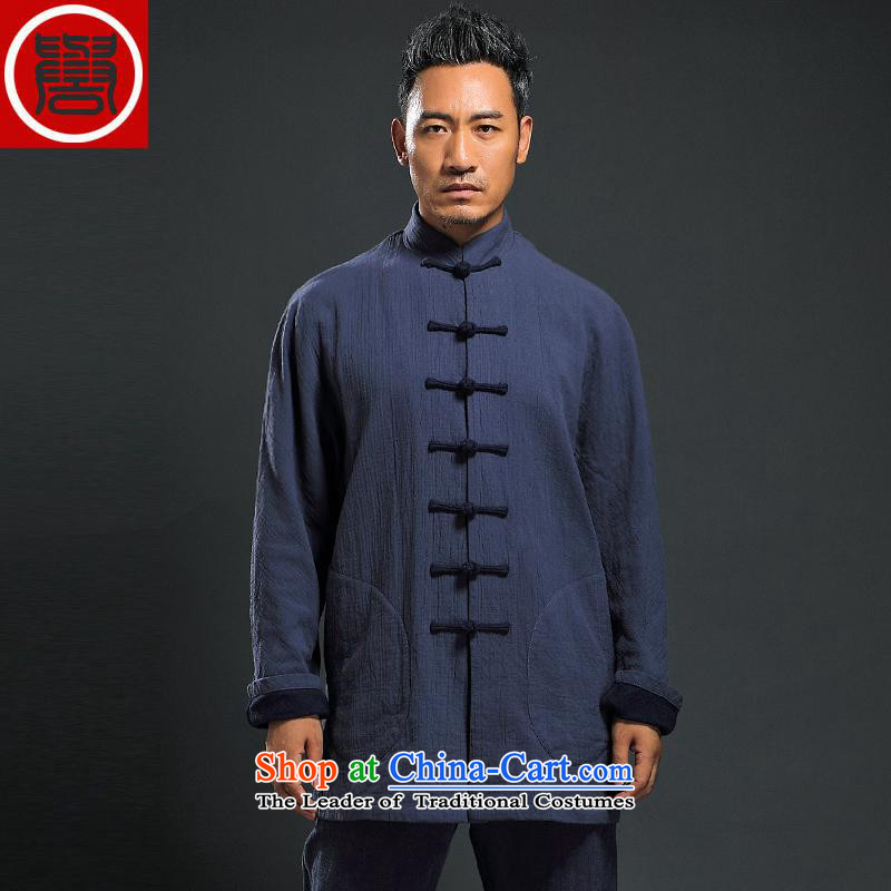Renowned 2015 Men's Shirt jacket autumn Tang Dynasty Chinese long-sleeved jacket snap up linen china wind autumn improved Tang dynasty and the new dark blue?L