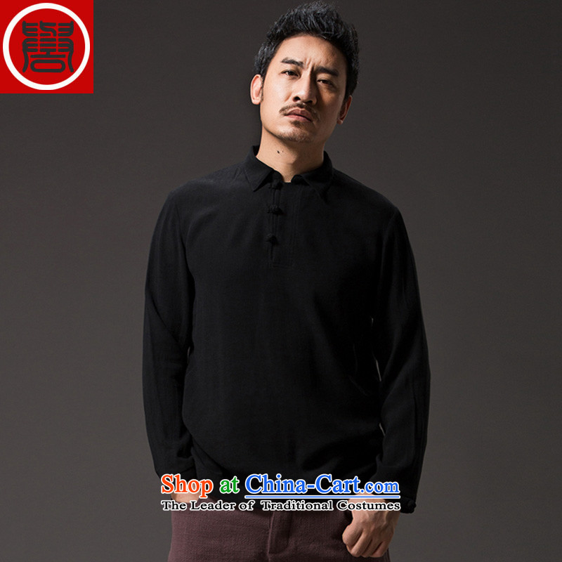 Renowned China wind lapel of long-sleeved T-shirt men Tang Dynasty Chinese male Han-han-disk-Sau San leisure燲XXL Black Men's Shirt