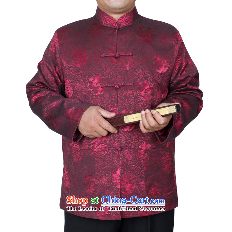 The Cave of the elderly new explosions in the autumn and winter 15 urges older men Tang dynasty jacket fall inside the national costumes W58 father folder_cotton wine red聽175 yards