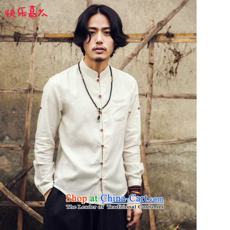 Happy Man Ka Man Leisure Mock-Neck Shirt Spring New Product China wind wood collar shirt clip C25 m White燤
