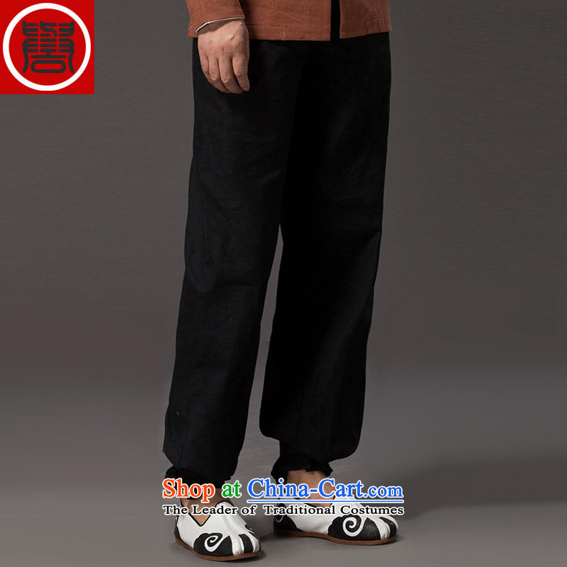 Renowned National wind Tang dynasty her father, loose trousers linen retro leisure Harun trousers China wind cotton linen trousers and black?XXXL
