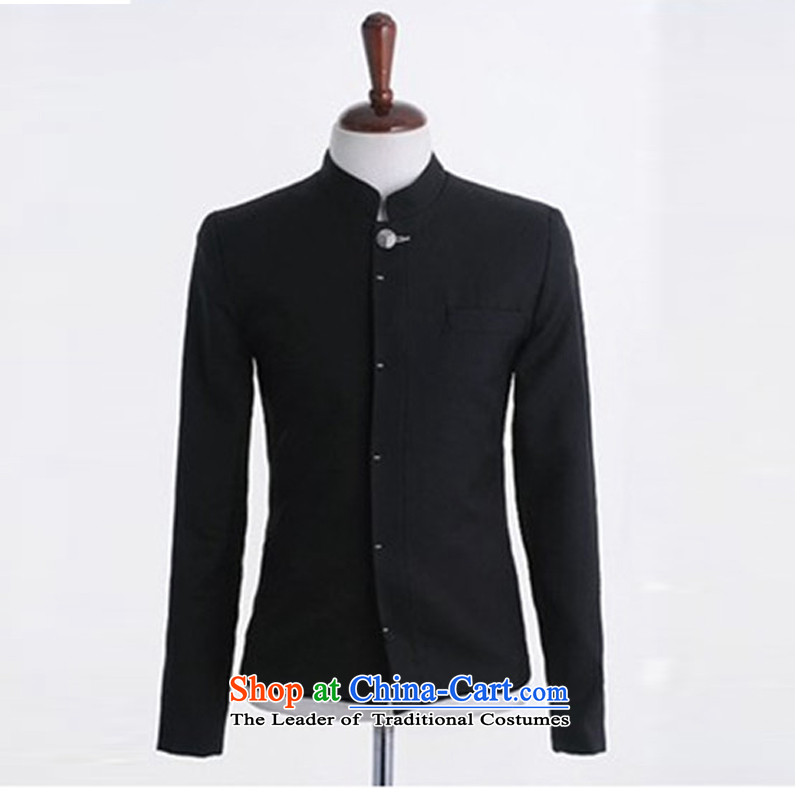 Dan Jie Shi?2015 new Korean Street Cool Men Chinese tunic preppy men's jackets and Sau San boys Chinese tunic jacket coat Black Hair? (M) thick wool