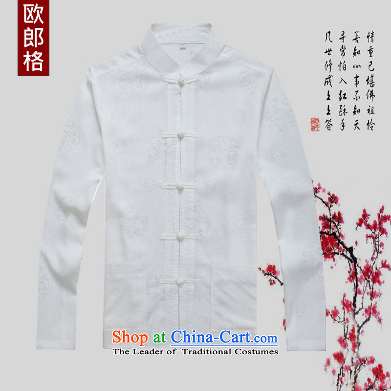 The OSCE in the summer and autumn of 2015 who new Tang dynasty in older daily leisure shirt Chinese Cardigan replacing old grandfather long-sleeved sweater male Tang dynasty white shirt?170_M