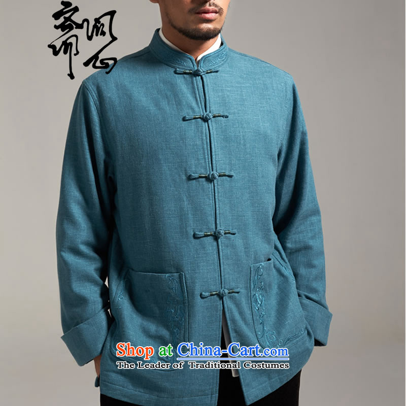 Q Shinsaibashi represented a health _men of autumn and winter new Chinese Tang dynasty collar robe jacket 2627 Blue聽XL
