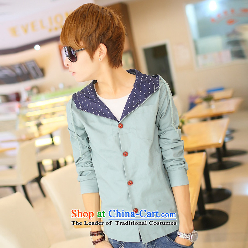 The autumn new jackets Jacket coat and men during the spring and autumn, attached with cap decorated in men's jackets XL SKYBLUE?L is too small a code)
