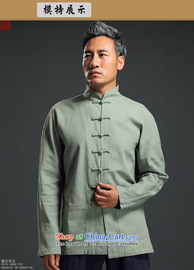Renowned China wind retro denim Tang dynasty men Han-men and long-sleeved Chinese collar disc detained and trendy national costumes green聽XXXL picture, prices, brand platters! The elections are supplied in the national character of distribution, so action, buy now enjoy more preferential! As soon as possible.