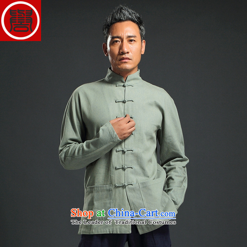 Renowned China wind retro denim Tang dynasty men Han-men and long-sleeved Chinese collar disc detained and trendy national costumes green XXXL