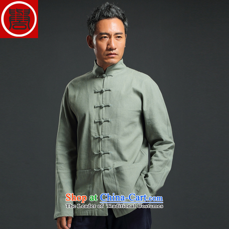 Renowned China wind retro denim Tang dynasty men Han-men and long-sleeved Chinese collar disc detained and trendy national costumes green聽XXXL, renowned (CHIYU) , , , shopping on the Internet