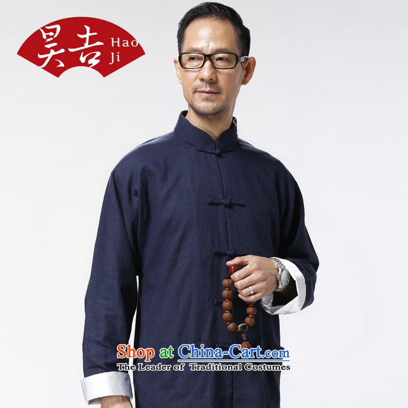 The Annual Autumn boxed long-sleeved trousers, older men cotton linen package father grandfather elderly loose Tang dynasty two kits?180/XL blue