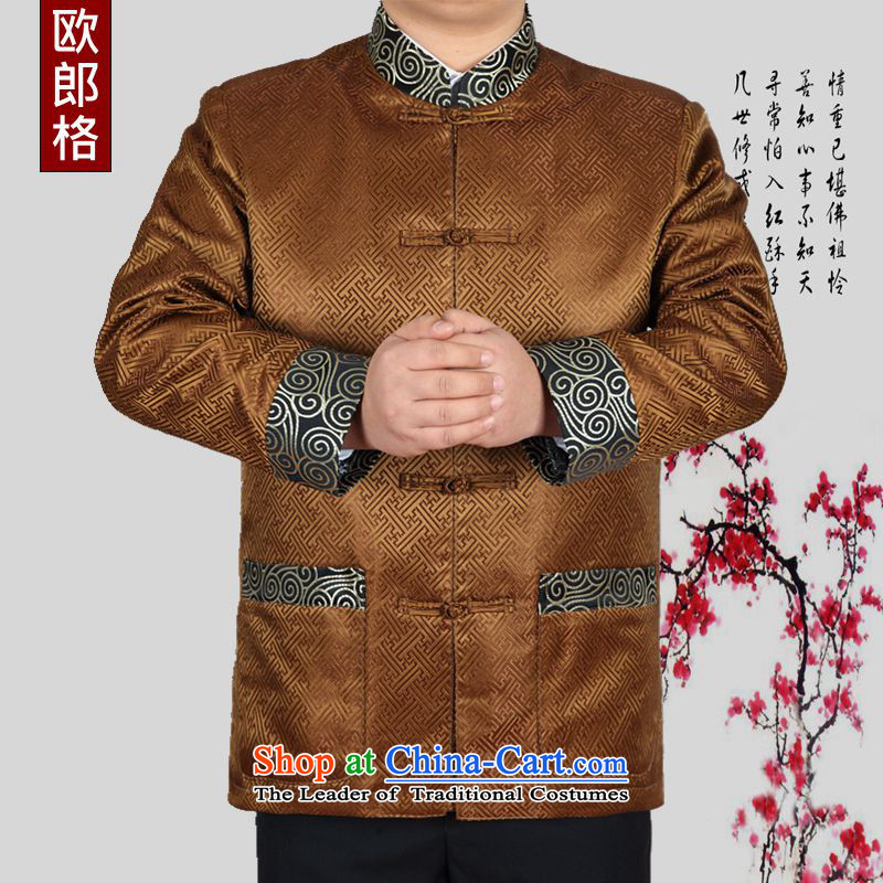 The European Health, 2015 autumn and winter new elderly leisure long sleeve jacket Chinese Antique Tang blouses father replacing thick warm jacket Birthday Celebrated?190/XXXL Gold Service
