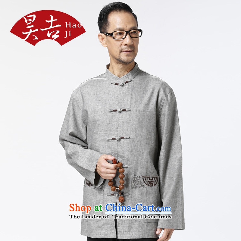 Ho-gil of the elderly men loaded autumn clothes of older persons in the jacket Tang older China wind Tang long-sleeved T-shirt with light gray?L