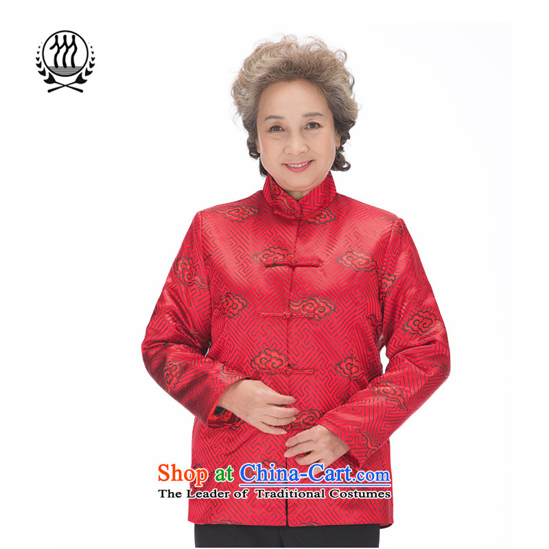 Thre line autumn and winter and new older women and men in couples with China wind patterns in older Tang Xiangyun blouses birthday golden marriage couples of Tang Dynasty F1221 red women�XXL/185