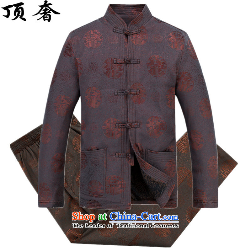 Top Luxury and long-sleeved shirt men's jackets loose version plus lint-free. The elderly is thick men Tang dynasty birthday too life jackets grandpa red Millennium) Millennium) Red Kit?M/170