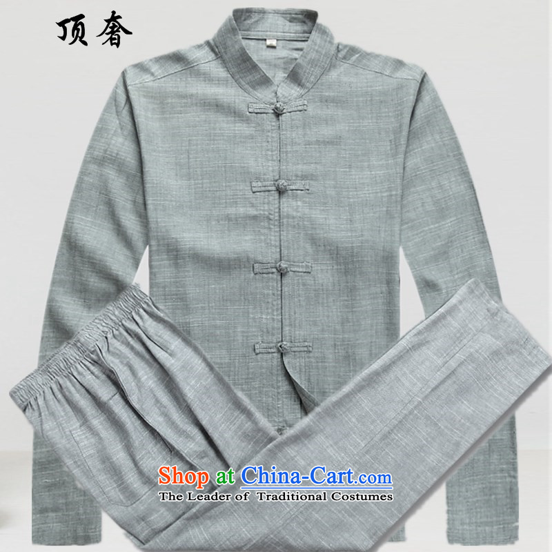 Top Luxury Tang dynasty male long-sleeved shirt, low long-sleeve sweater linen collar men Tang Dynasty National wind in long-sleeved blouses and older Tang gray suit 165/S