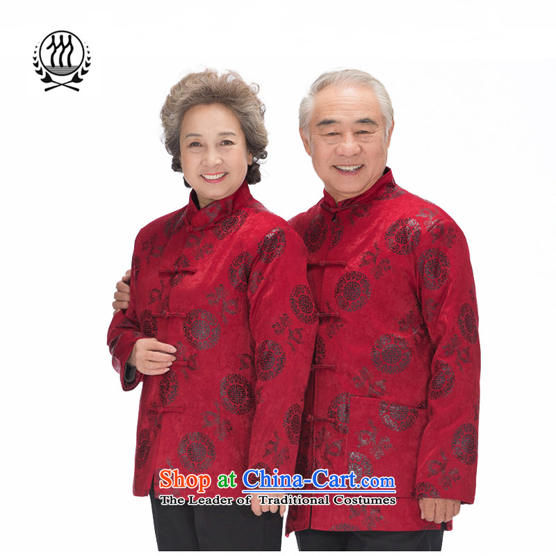 Thre line autumn and winter and the new couple of older women and men in Tang dynasty China wind Park Hee 泾蜮 pattern golden marriage couples blouses F0123 birthday couples, red men men L_175