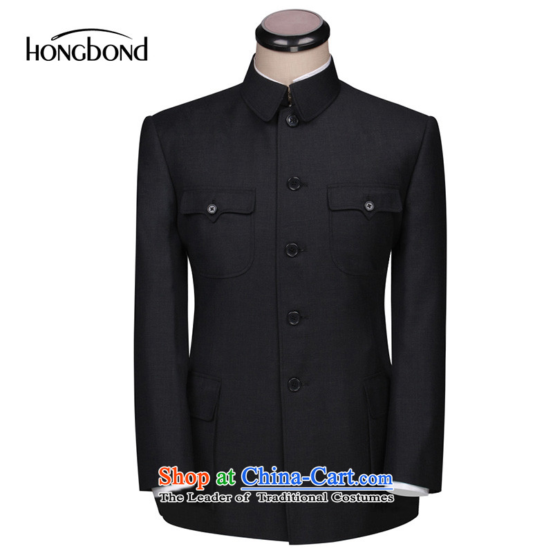 Store custom black with gray suit the whole wool business men and suit large made large Chinese tunic suit kit _40 days shipment as custom black燲FKS017 185_100A