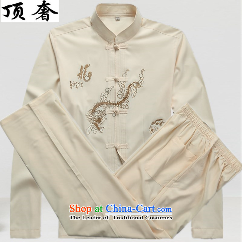 Top Luxury Tang dynasty, male long-sleeved thin men's jackets 2015 new hands-free ironing Tang dynasty white long-sleeved T-shirt collar men Tang Dynasty Package 2046, beige_ packaged M_170