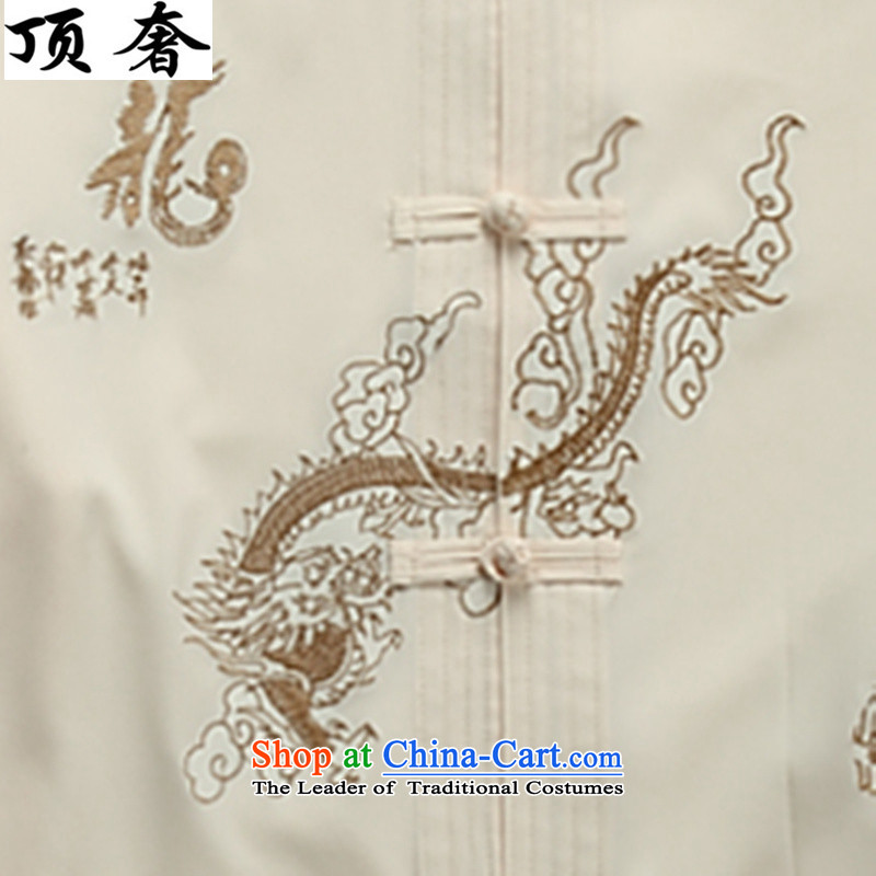 Top Luxury Tang dynasty, male long-sleeved thin men's jackets 2015 new hands-free ironing Tang dynasty white long-sleeved T-shirt collar men Tang Dynasty Package 2046, beige) packaged聽M/170, top luxury shopping on the Internet has been pressed.