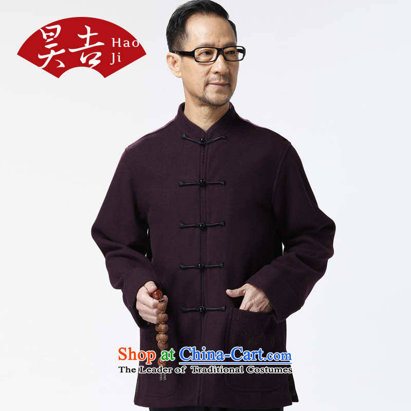 Ho Chi Chiu New) older men's woolen long-sleeved Tang Gown of older persons a solid color wild jacket father replacing Plum Purple?XXL