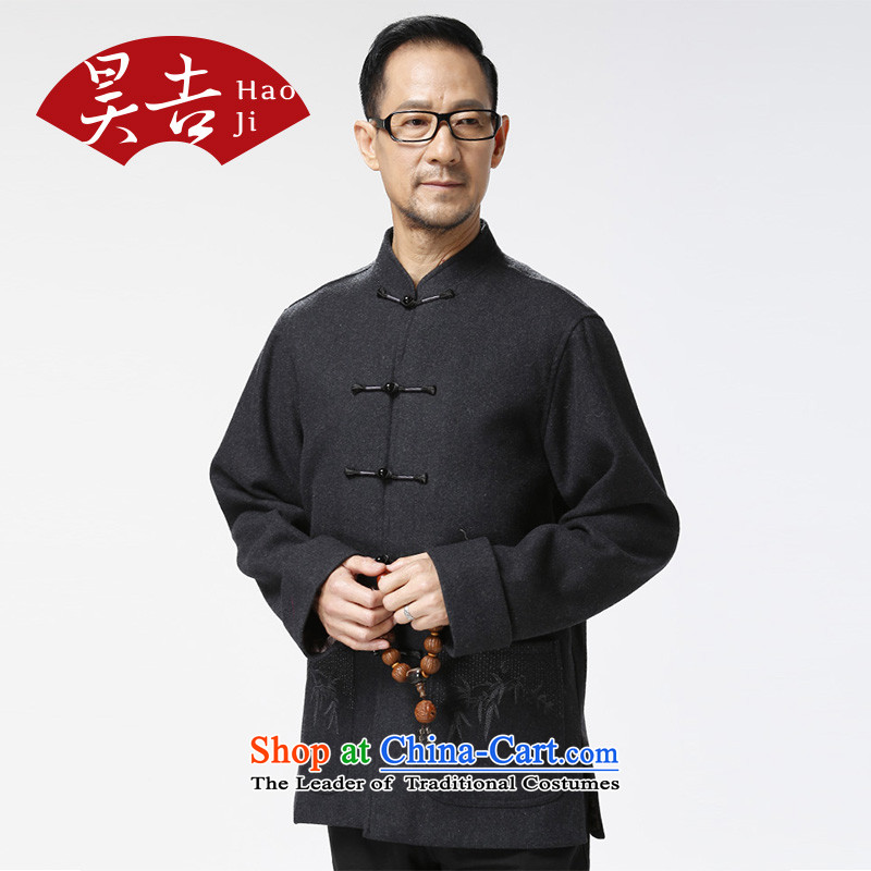 Ho Chi Chiu New) older men's woolen long-sleeved Tang Gown of older persons a solid color wild jacket father replacing Plum Purple聽XXL, Ho ji.... shopping on the Internet